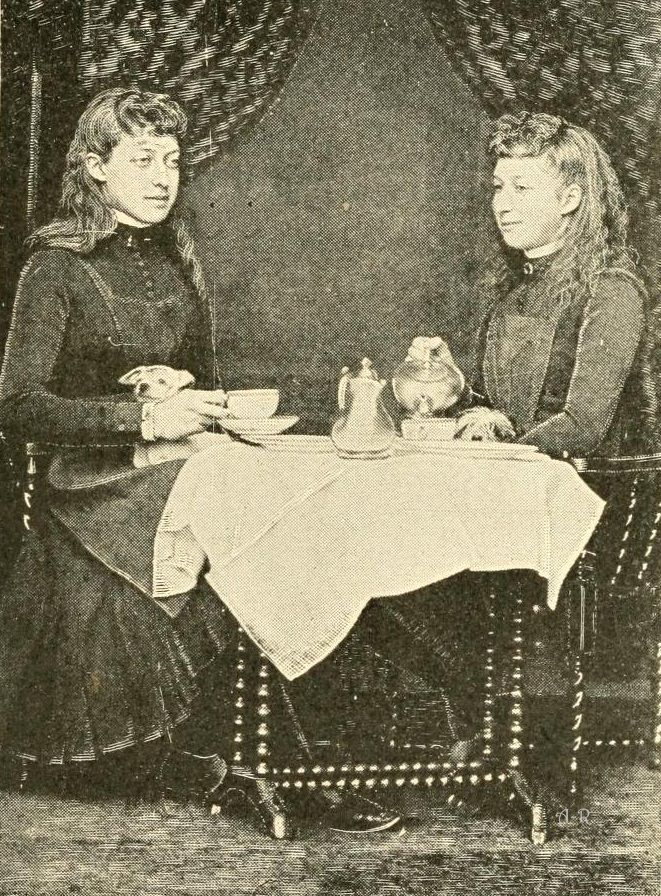 Princess Victoria and Maud taking tea