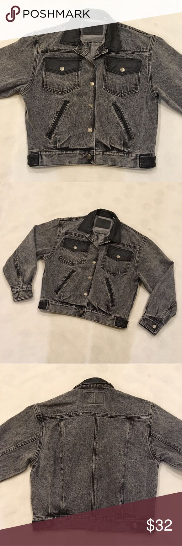 """Vintage acid wash jean jacket Rad 80s true vintage black/gray acid wash jean jacket with leather details on pockets and collar. Tag says (men's?) medium, I'd say it fits a modern women's medium with a boxy oversized fit, or a small if you want it even bigger. Measurements: shoulders 19.5"""", chest 21"""", waist 17"""", shoulder to hem 21.5"""", shoulder to cuff 21"""". Great vintage condition! Vintage Jackets & Coats Jean Jackets"""