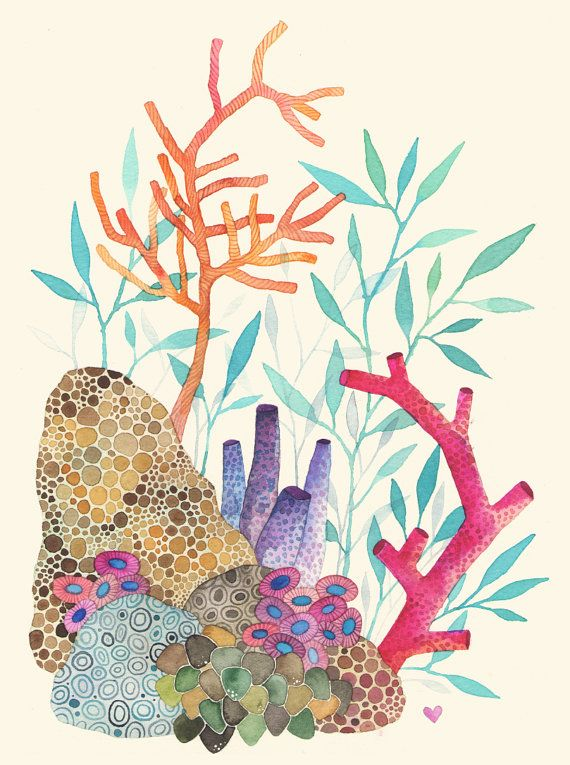 Inspired by growing up in Cancún, part of a new Under The Sea series.    This is a digital print of my original watercolor illustration. Printed on acid