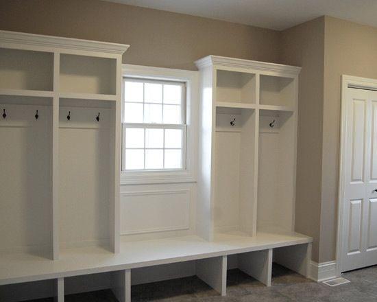 Looks like well within husband's DIYability :: mudroom, DIY, shelving, hooks, cubbies, lockers, entrance, organization