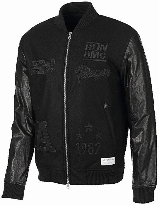 98f67277f Adidas Originals X Run DMC Leather Sleeve Bomber Jacket (Tougher ...