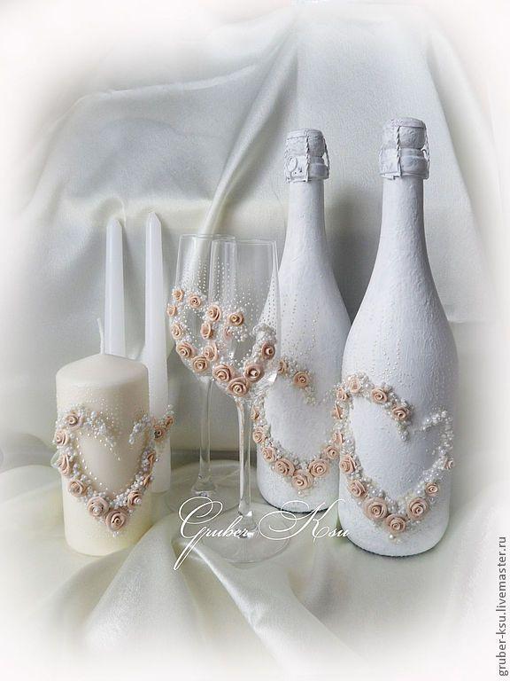 """Купить Свадебное шампанское """"Лолита"""" - бежевый, шампанское, шампанское на свадьбу, свадьба, свадебные аксессуары"""
