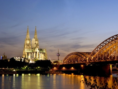 Cologne Cathedral and Hohenzollern Bridge at Night, Cologne, North Rhine Westphalia, Germany Photographic Print