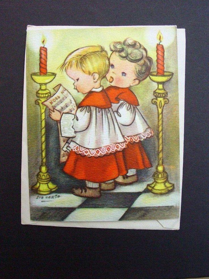 Vintage Eva Harta Crestwick Xmas Greeting Card Sweet Choir Boys singing