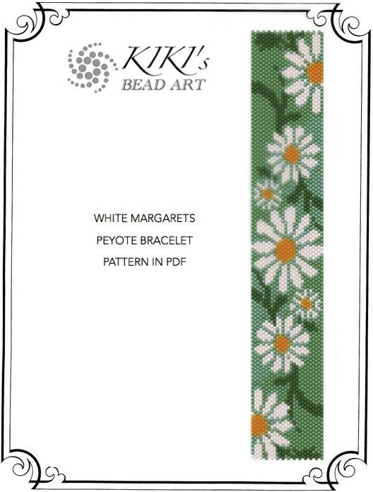 Pattern, peyote bracelet - White margarets flower garden peyote bracelet cuff pattern in PDF - instant download