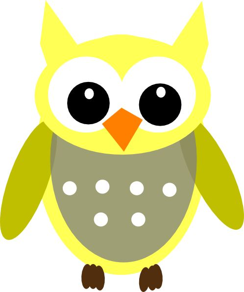Cute Cartoon Owls | Cute Yellow Gray Owl clip art - vector clip art online, royalty free ...