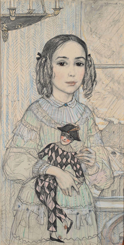 """Princess Katya - Ilya Glazunov.1970 year  Illustration for F. Dostoevsky's story """"Netochka Nezvanova""""  Paper, black oiled chalk, pastel, charcoal. 100×51,5"""