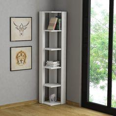 Korner+libreria+angolare+da+parete+in+legno+Bianco+o+Wenghè+160+cm