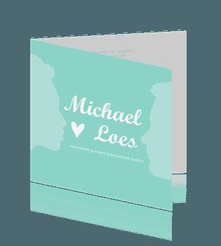 Mint groene silhouet trouwkaart bruiloft. #trouwkaarten #silhouet