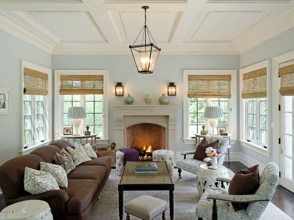 I like the stools in front of the fireplace and the symmetry.