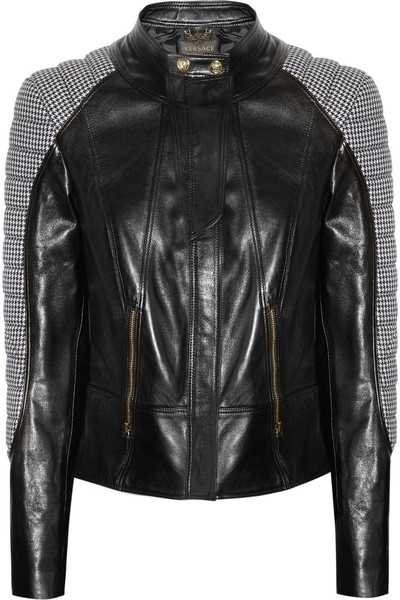 Houndstooth Paneled Leather Jacket