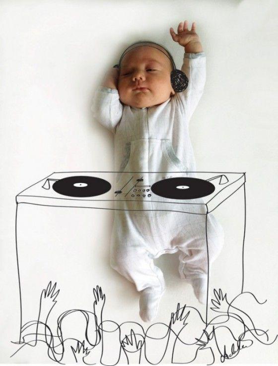 Adele Enersen - slapende baby tekening
