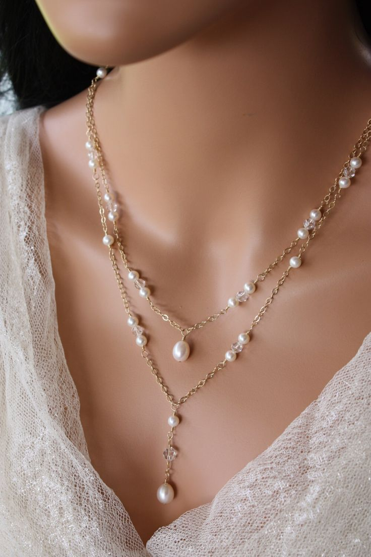 BRIDAL BACKDROP NECKLACE Double Stranded Gold or Rose Gold Chain Design with Pearl and Crystal Accents, Bridal Necklace, Wedding Necklace by LalleBridalJewelry on Etsy https://www.etsy.com/listing/167876179/bridal-backdrop-necklace-double-stranded