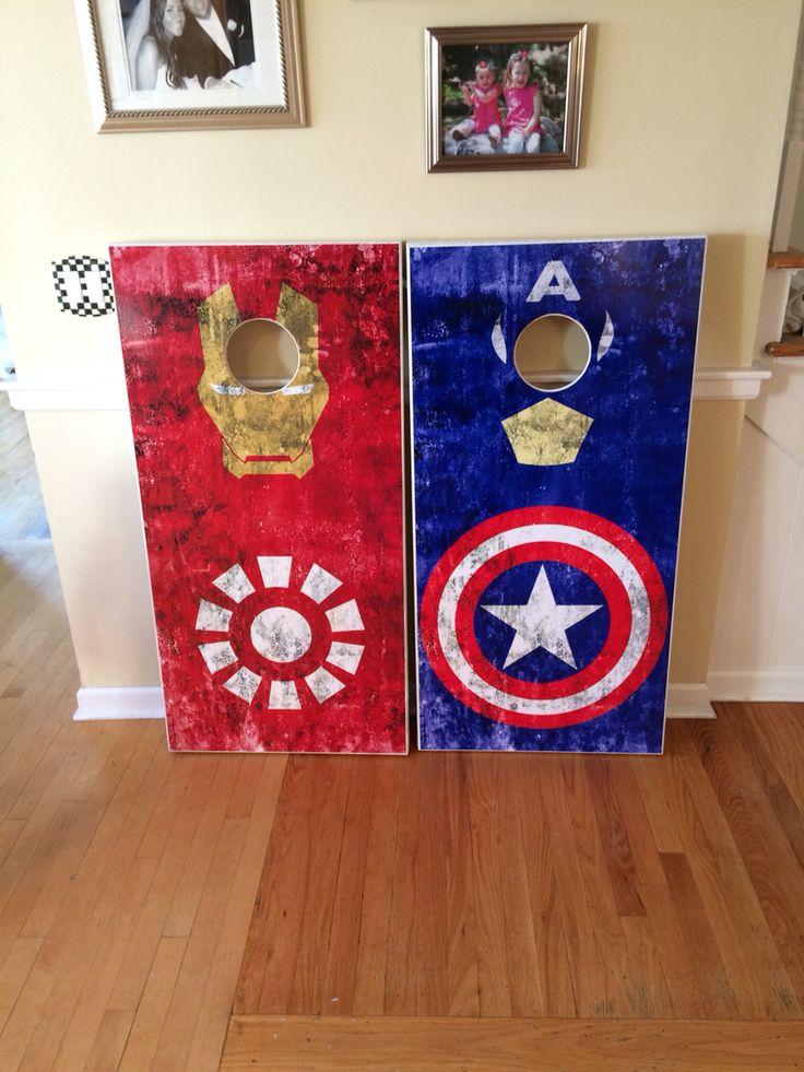 captain america and iron man custom cornhole boards - Custom Corn Hole Boards
