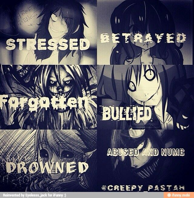 Creepypasta- its frightening how all these things happen to people a lot and how we couldve turned out like this..