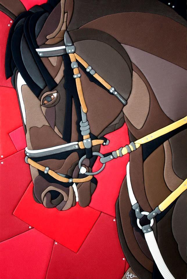 """""""Pride Horse"""" 150x100x6 cm (2013) - opera n.257 TECNICA ARTISTICA: PROPRIETA' ESCLUSIVA DI SCULTURE VESTITE DI STEFANO BRESSANI. BLOCCO UNICO SCOLPITO E MODELLATO A MANO, RICOPERTO CON STOFFA ESCLUSIVAMENTE PROVENIENTE DALL'ABBIGLIAMENTO SENZA COLLANTI O CUCITURE. MATERIALI: COTONE, SINTETICI, LUREX, LATEX, PILE, CHIODI ZINCATI E CORNICE A SCOMPARSA IN LEGNO GREZZO DI ABETE."""