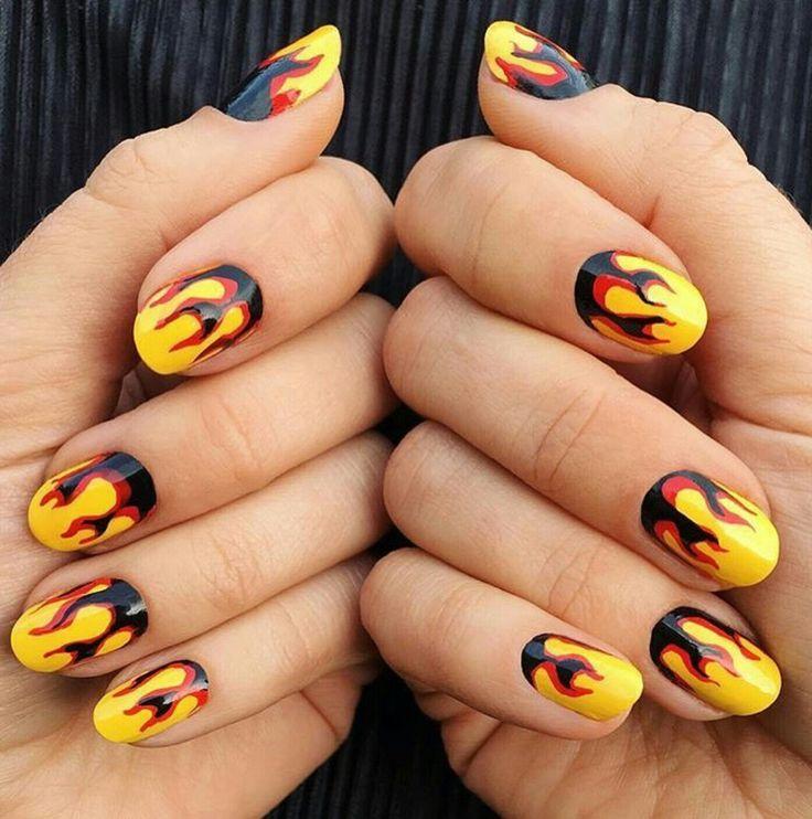 Flames nail art