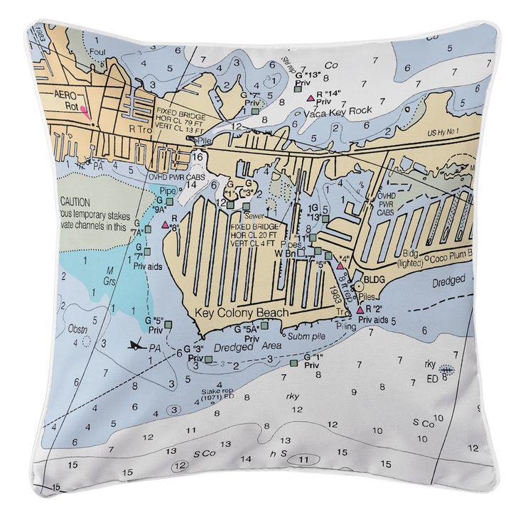 FL: Key Colony Beach Marathon, FL Nautical Chart Pillow