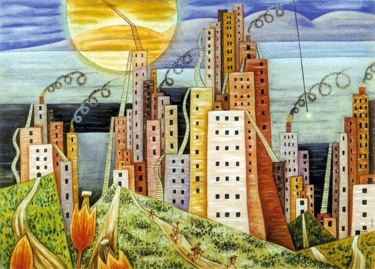 """1939_""""Ciudad Lagui""""_El argentino Xul Solar, plasma una urbe que crece hacia el cielo. La obra fue pintada dos años después de la inauguración del Edificio Kavanagh, de 120 m, que comenzó a cambiar la fisonomía de Buenos Aires (Museo Xul Solar)."""