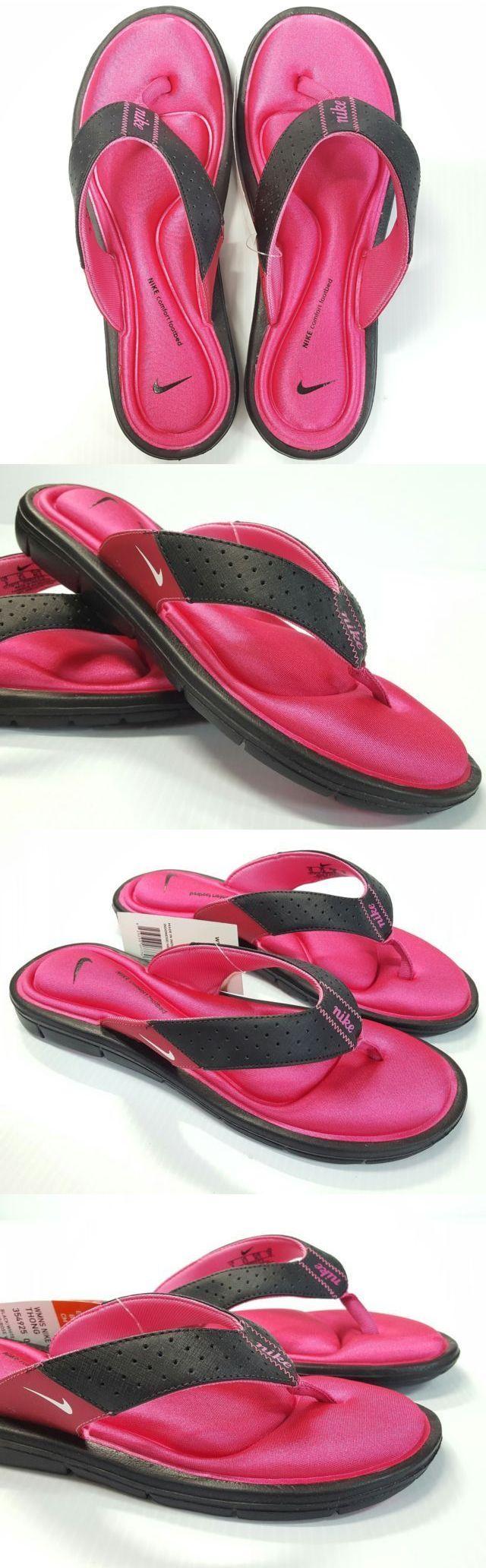 Sandals and Flip Flops 62107: Nike Women S Comfort Thong Sandals Flip-Flops Color Black-Pink Size 7,8 Or 9 -> BUY IT NOW ONLY: $33.99 on eBay!