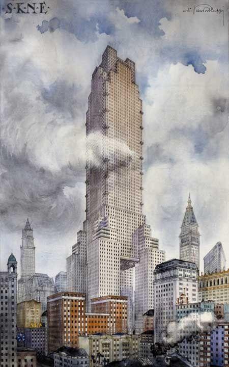 Piero Portaluppi - Progetto di Grattacielo S.K.N.E, New York 1920