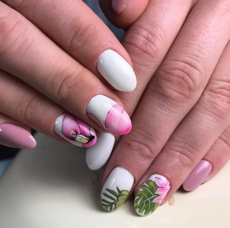Розовый фламинго #ногти #ногти43 #ногти2017 #ногтикиров #ногтивкирове #маникюр #маникюркиров #гельлак #фламингонаногтях #фламинго #рисунокнаногтях #росписьногтей
