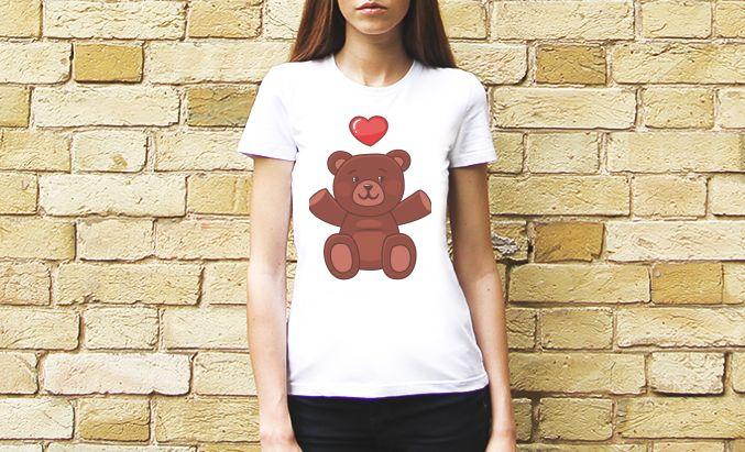 """Женская футболка с принтом """"милый мишка"""", от художника АЗ. 190 грн #tshirt #woman #bear #artlook"""