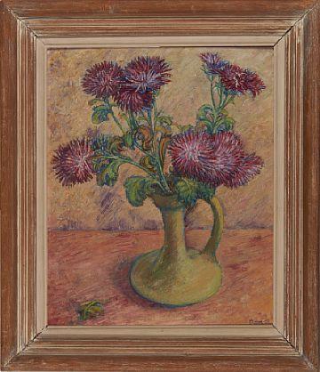 """ROY BLOHM OSLO 1922 - D.SST. 2008  """"Røde blomster"""" 1954 Olje på plate, 47x38 cm Signert og datert nede til høyre: Blohm -54"""