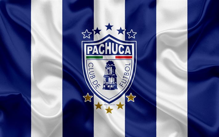 Download wallpapers Pachuca FC, 4k, Mexican Football Club, emblem, Pachuca logo, sign, football, Primera Division, Mexico Football Championships, Pachuca de Soto, Mexico, silk flag