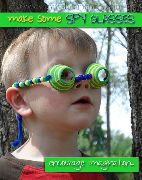 When children are young their minds are full of wonder. Boys are especially rambunctious and ready to investigate every nook and cranny. Feed off that adventurous nature and encourage imaginative play by making these fun spy glasses! They'll love threading the beads and bending the stems into place. Look out James Bond, there's a new spy in town! (egg crate eye spy glasses)