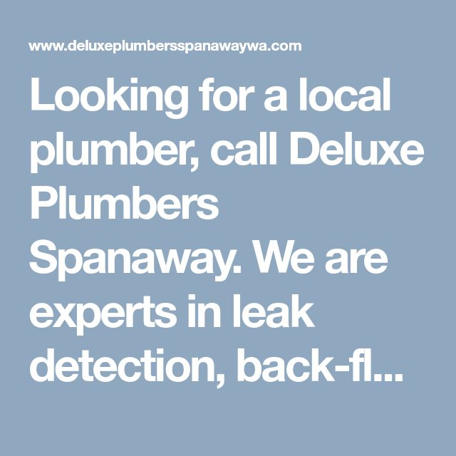 Looking for a local plumber, call Deluxe Plumbers Spanaway. We are experts in leak detection, back-flow prevention and testing and blocked drains services. #24HourPlumberSpanaway #BestPlumbersinSpanaway #LocalSpanawayPlumberService #LocalPlumberSpanawayWA #DeluxePlumbersSpanaway