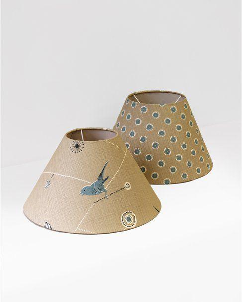 Empire Lampshades  Base Diameter 40cm - Dawn Chorus - Mushroom, Teal, Winter. Pretty Maids - Mushroom, Teal, Winter .