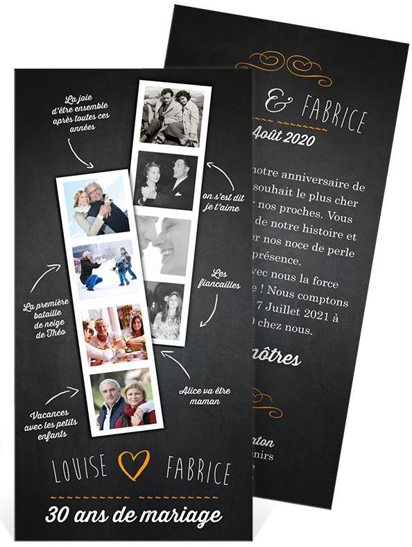 Invitation anniversaire de mariage pour faire la rétrospective de vos 30 ans d'amour, ref N22130