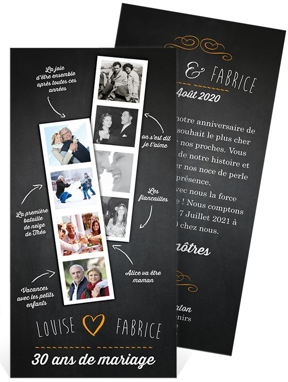 Invitation pour les 40 ans de mariage
