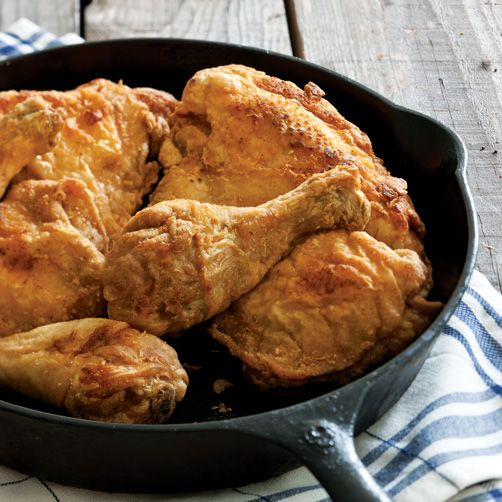 Fried Chicken.  This is exactly how my mom used to fry chicken, except she soaked her chicken in buttermilk for 24 hours before frying.