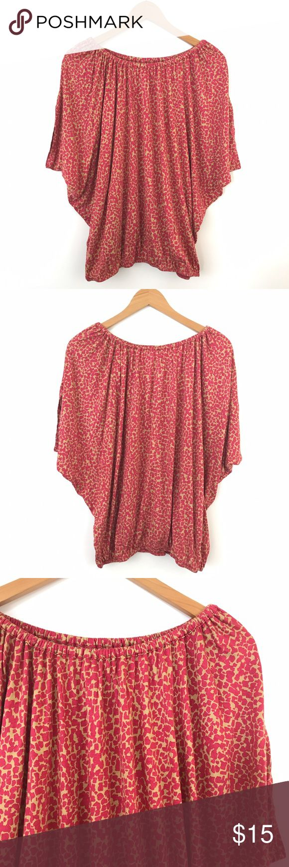 """Ann Taylor Loft Giraffe Print Pink Batwing Top S Bust: 30"""" Length: 25""""  Condition: No Rips; No Stains  70% Rayon 30% tencel   📦Orders are shipped within 24hrs! {Except weekends}📦  🚫No Trades🚫No Holds🚫 LOFT Tops Blouses"""