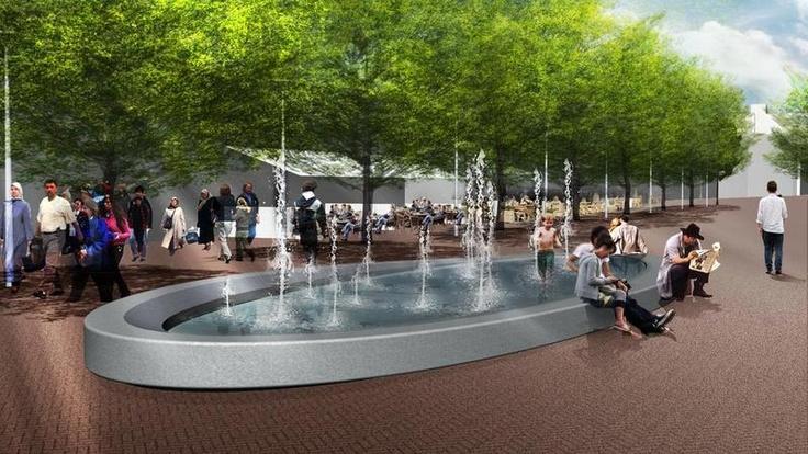 Sven: een fontein op het plein(rijmt) geeft een prettige sfeer, voor de reizigers en de mensen die blijven hangen