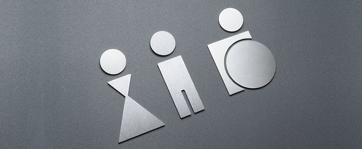 Toilet sign for men, women and disabled toilet, stainless steel