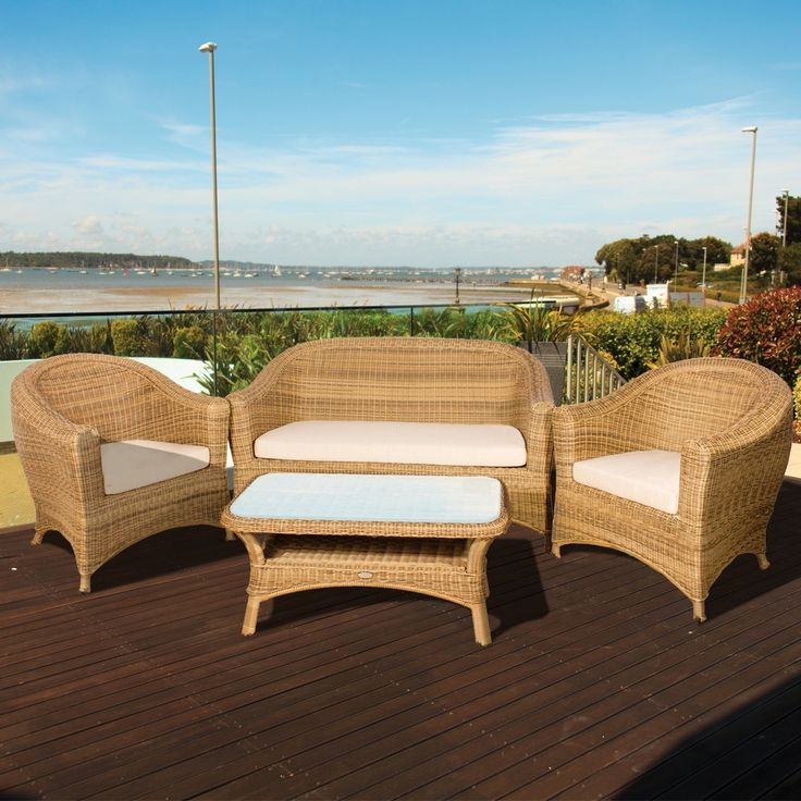 bonsoni bahama rattan 4 seater lounge set in 4 seasons garden outdoor furniture - Garden Furniture 4 All