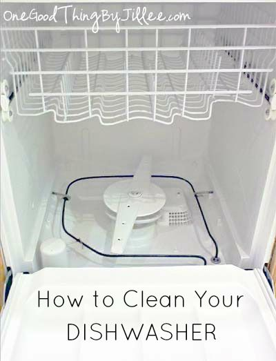 20 Best Kitchen Cleaning Tips - how to clean your dishwasher.