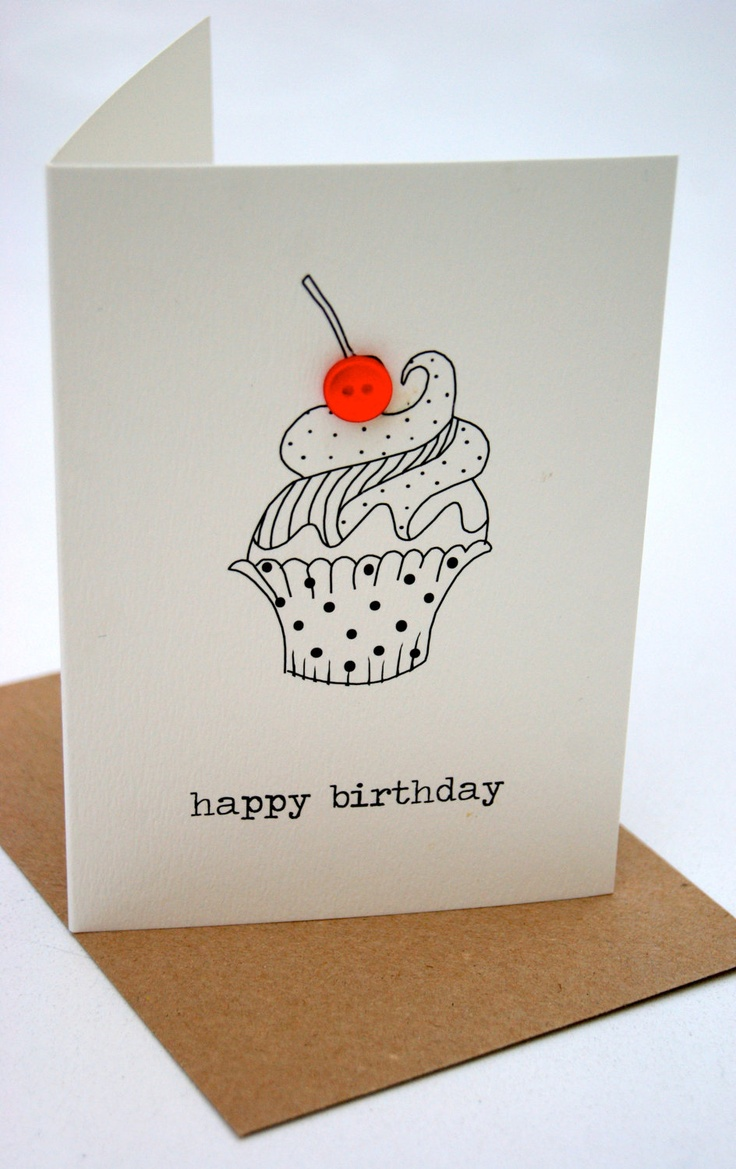 'happy birthday' cupcake button box card, Greeting Card.