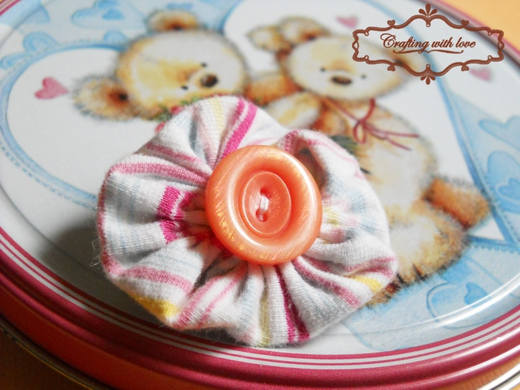 ~Stripes~Handmade fabric brooch.