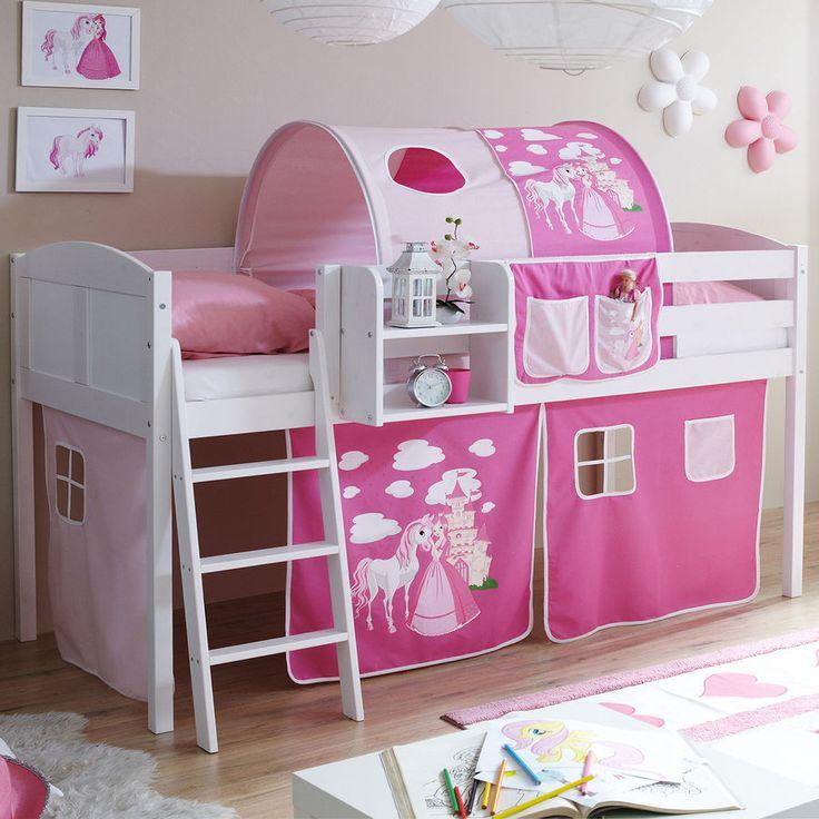 ticaa hochbett eric, kiefer weiß country, horse rosa-pink #ticaa ... - Kinderzimmer Mdchen Weiss