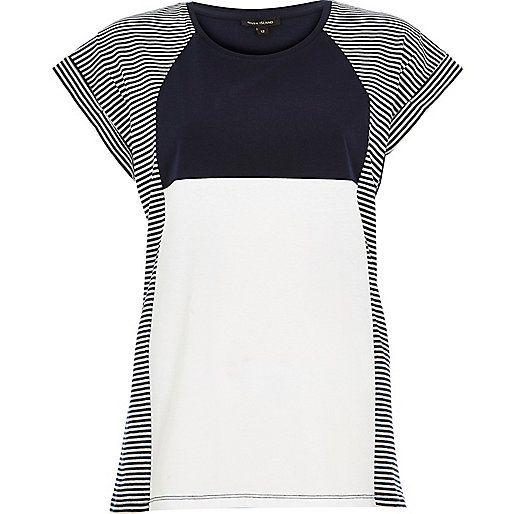 Navy stripe colour block oversized t-shirt £14 #riverisland #RI