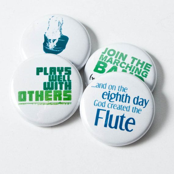 Four Flute and Marching Band Nerd Buttons or Magnets - size one inch