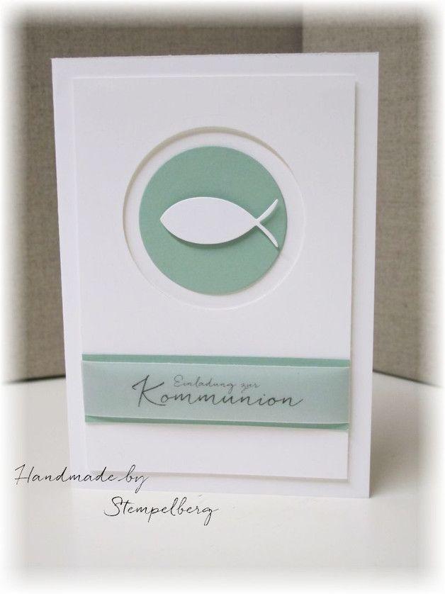 Einladungskarten - Einladung zur Kommunion/Konfirmation - ein Designerstück von Stempelberg bei DaWanda
