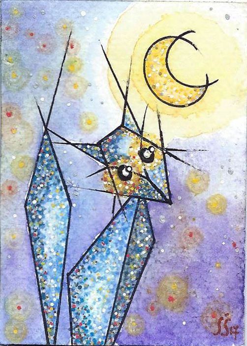 ACEO TW JUL- Moonligh watch-Original Watercolor Geometric Cat-Hand Painted #Miniature