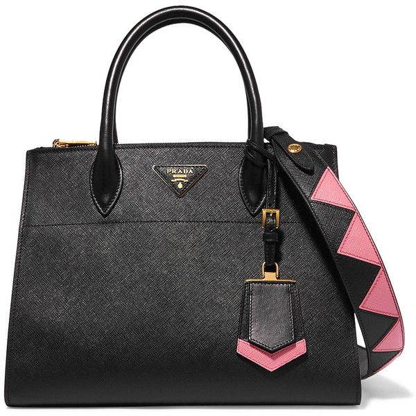 Prada Paradigme textured-leather tote (13479515 PYG) ❤ liked on Polyvore featuring bags, handbags, tote bags, tote handbags, print tote, tote purses, top handle purse and prada purses