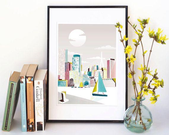 Boston Print, Boston Wall Art Print MA Skyline Home Decor, Boston Skyline Art Poster Travel Poster, Home Wall Decor Nursery Style: SBMA01