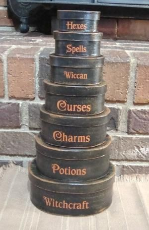 Primitive Halloween boxes by witches cauldron More witch craft inspirations. cute witchyness by Rose52
